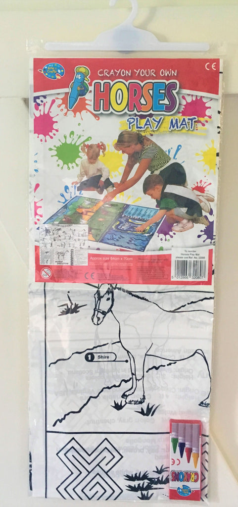New Girls Boys Gift Crayon Your Own Horses Play Mat + 4 Crayons - Reusable - Size 84 x 70cm