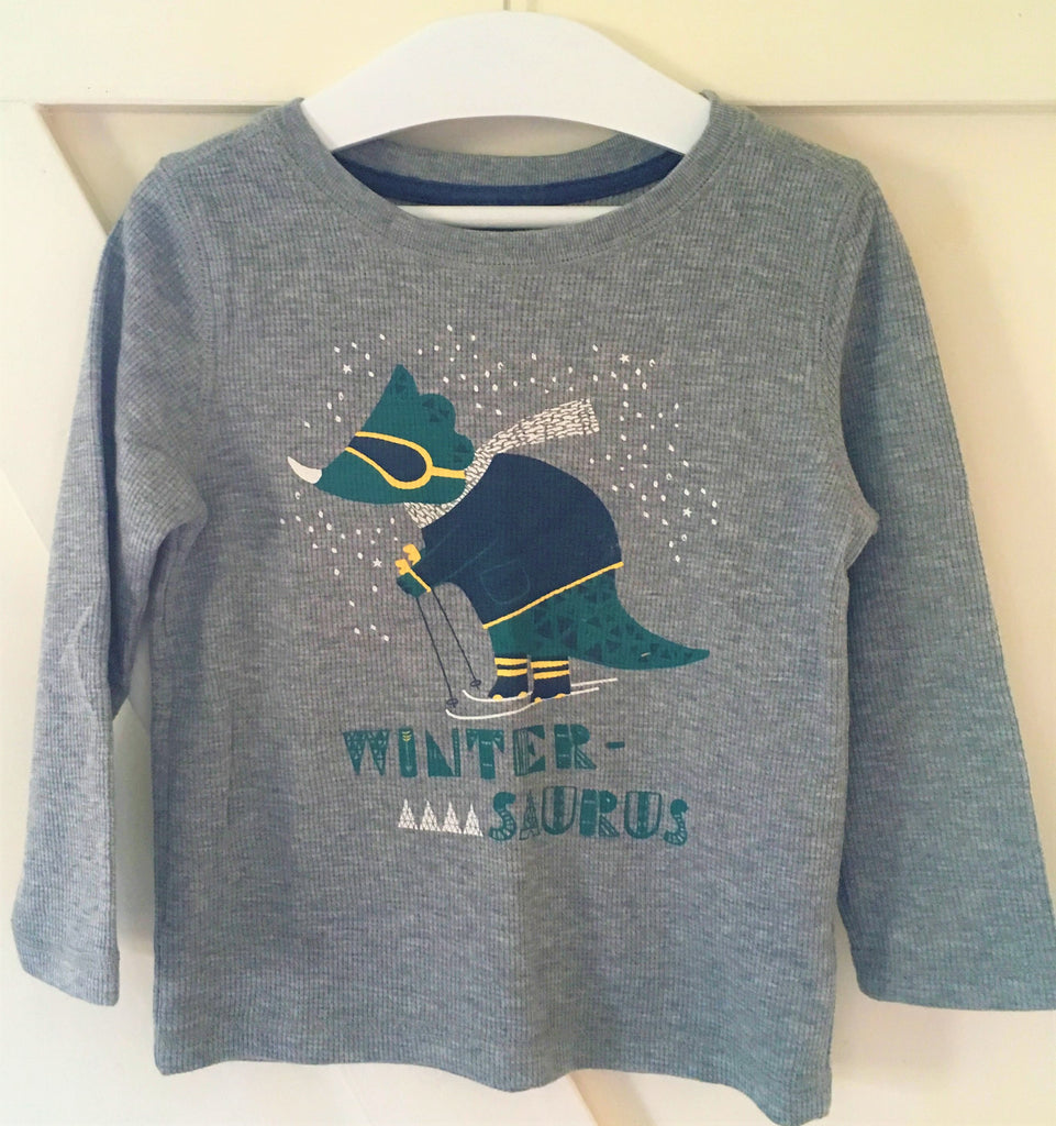New Boys Winter Saurus Top Christmas Gift - Waffle Style Grey Marl Colour - Exstore -Size 4 Years