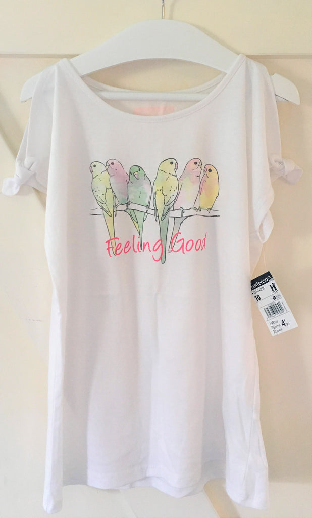 New Girls Parakeet Shoulder Tie Top Feeling Good - New Tagged Exstore In Extenso - Age 9-10 Yrs