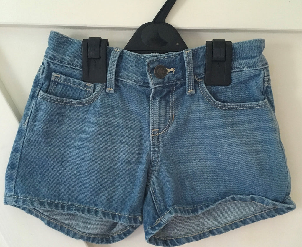 New Girls Mid Blue Denim Shorts Adj Waist - Exstore Old Navy - Age 5 Y
