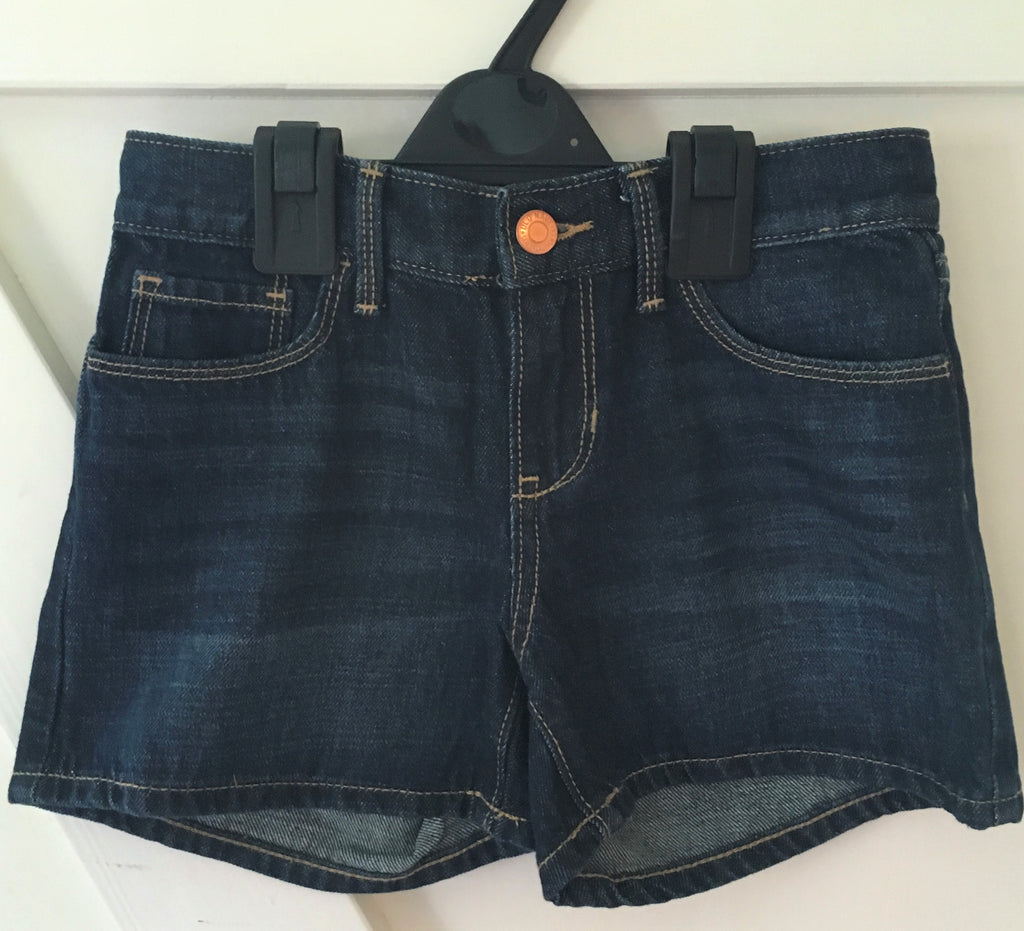 New Girls Dark Blue Denim Shorts Adj Waist - Exstore Old Navy - Age 5, 6 Y