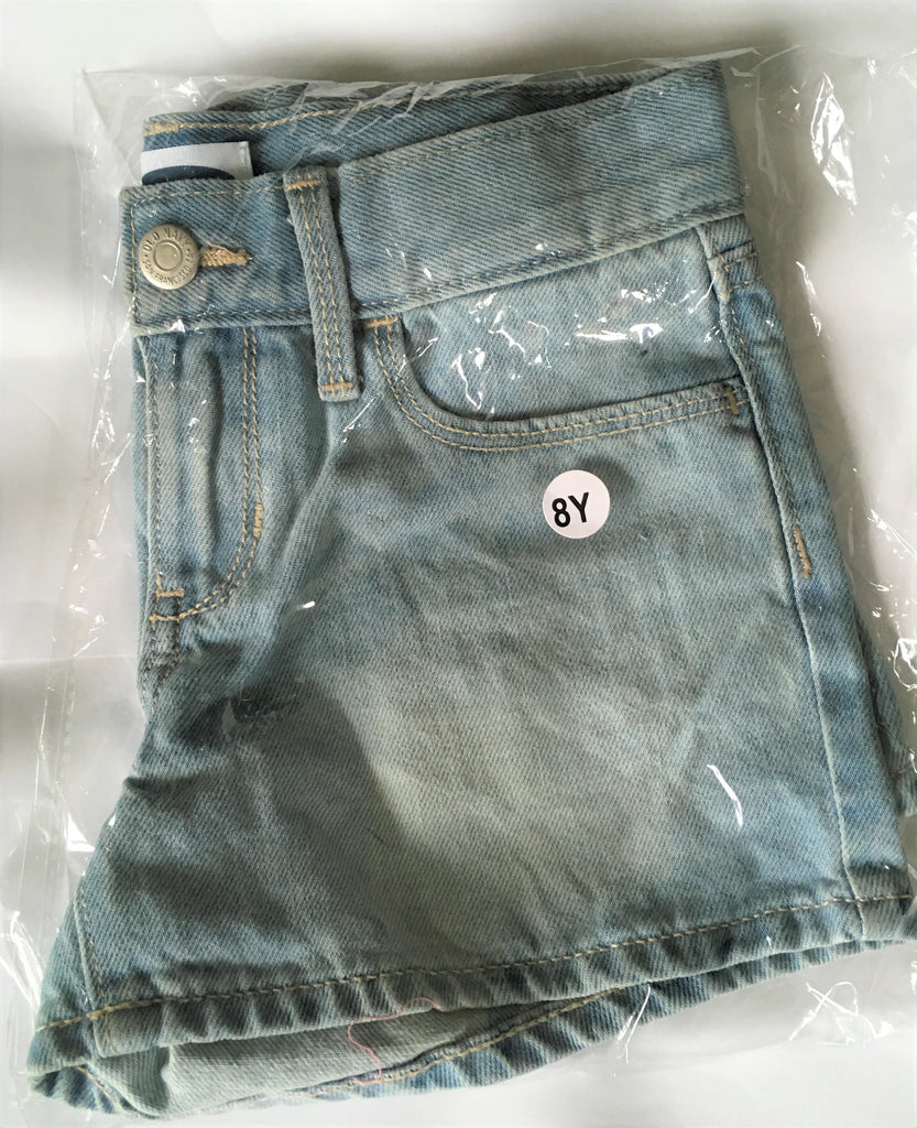 New Girls Pale Blue Denim Shorts Adj Waist - Exstore Old Navy Ages 7, 8, 12Y