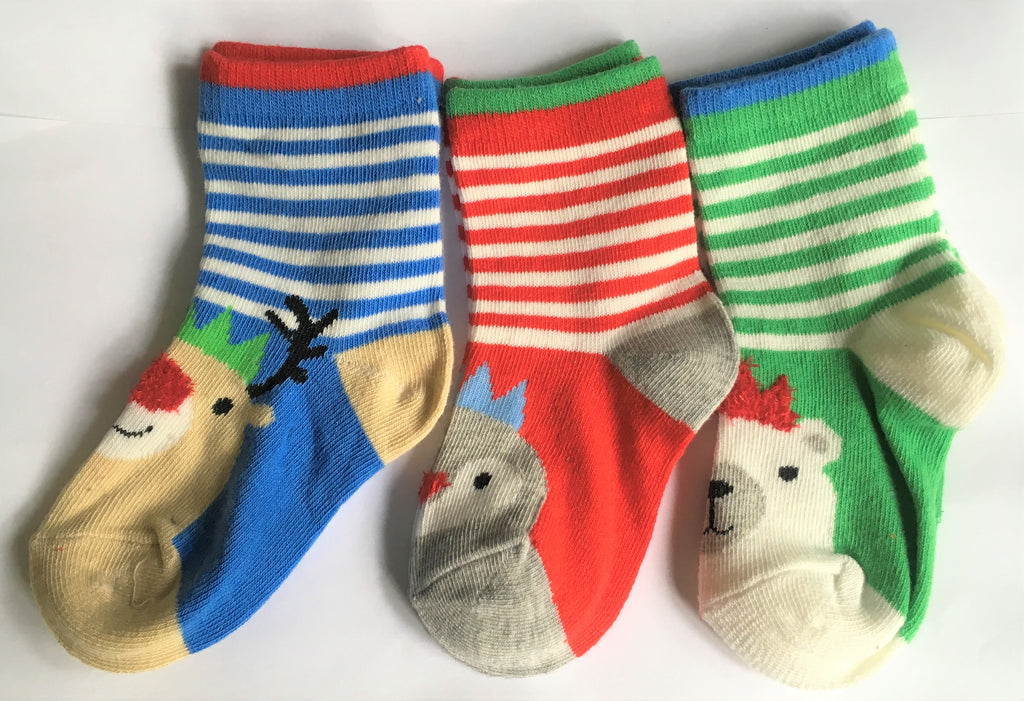 New Baby Unisex Christmas Festive Socks Cotton Rich 3 Pack - Exstore - Size 0-5.5