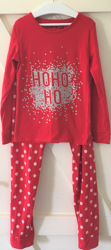 New Christmas Ho Ho Ho Girls Pyjamas - Exstore Snooze - 100% Cotton Ages 8-10 Years