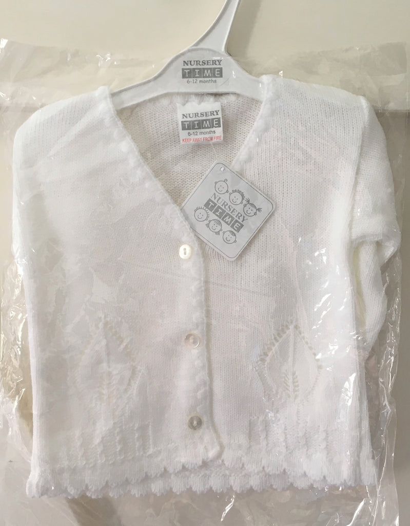 New Baby Girls Knitted Leaf Effect Cardigan - Pure White - Exstore Nursery Time - Ages 6-12 Months