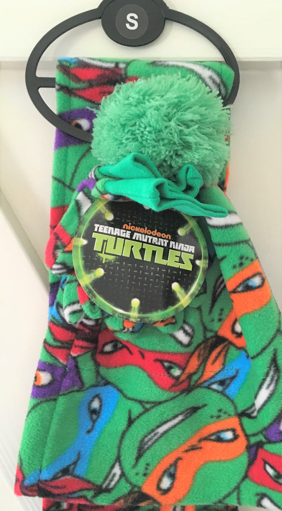 New Boys Teenage Mutant Ninja Turtles Hat Scarf Gloves Set - Size Small 2-3 Years - Official Exstore