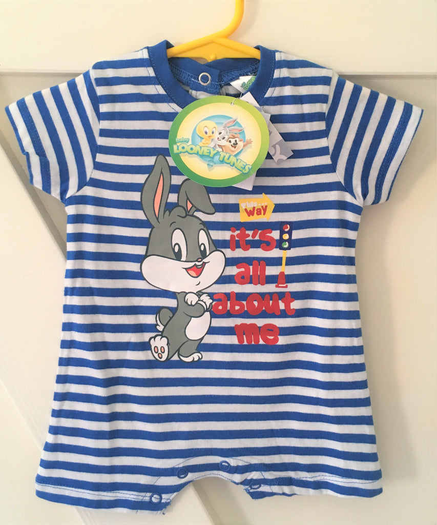 New Baby Boys Looney Tunes Baby Bugs Bunny Playsuit - Cotton - Age Up To 1 Month