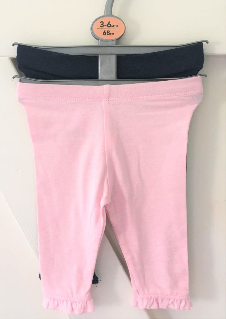 New Baby Girl Set 2 Pack Leggings Navy/Pink - Exstore Primark - Size 3-6 Months