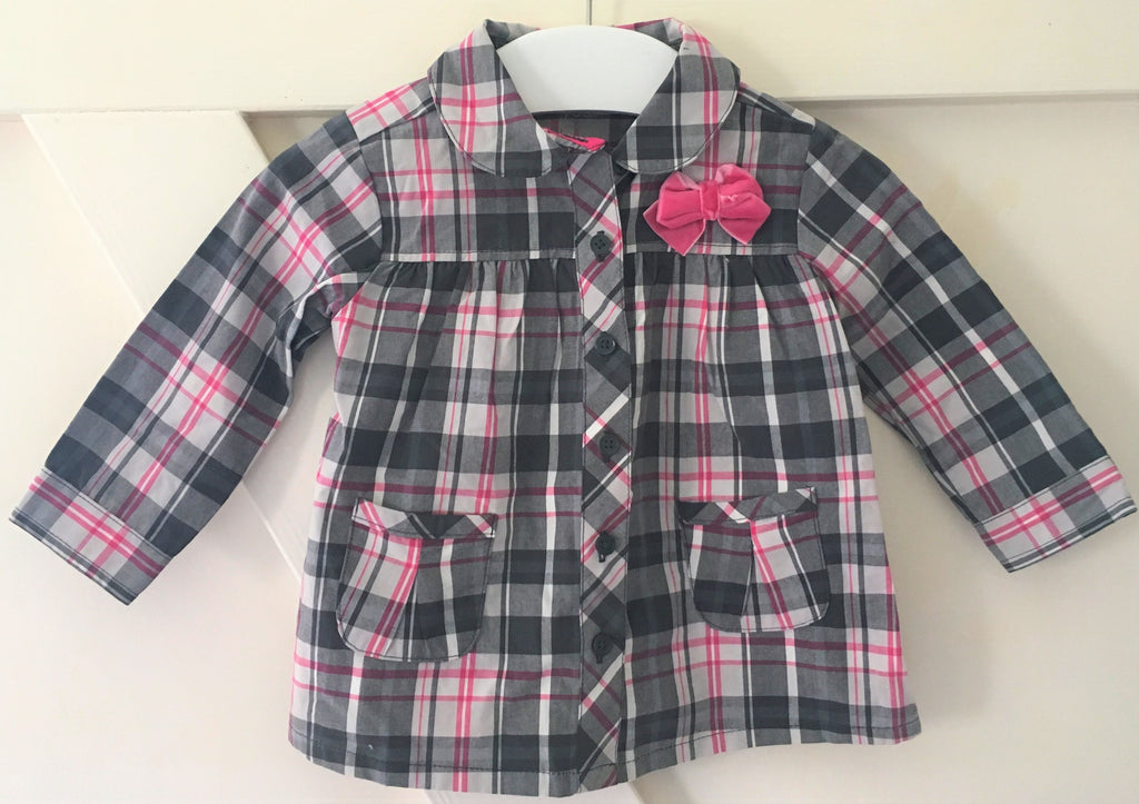New Pretty Baby Girls Button Cheque Blouse Velvet Bow - Exstore - Size 9 Months