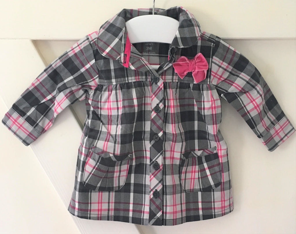 New Pretty Baby Girls Button Cheque Blouse Velvet Bow -  Exstore - Size 3 Months