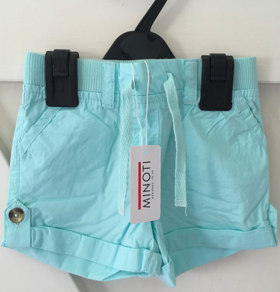 New Baby Girls Turn Up Woven Mint Shorts 100% Cotton -Exstore Minoti -  Ages 12 & 18M