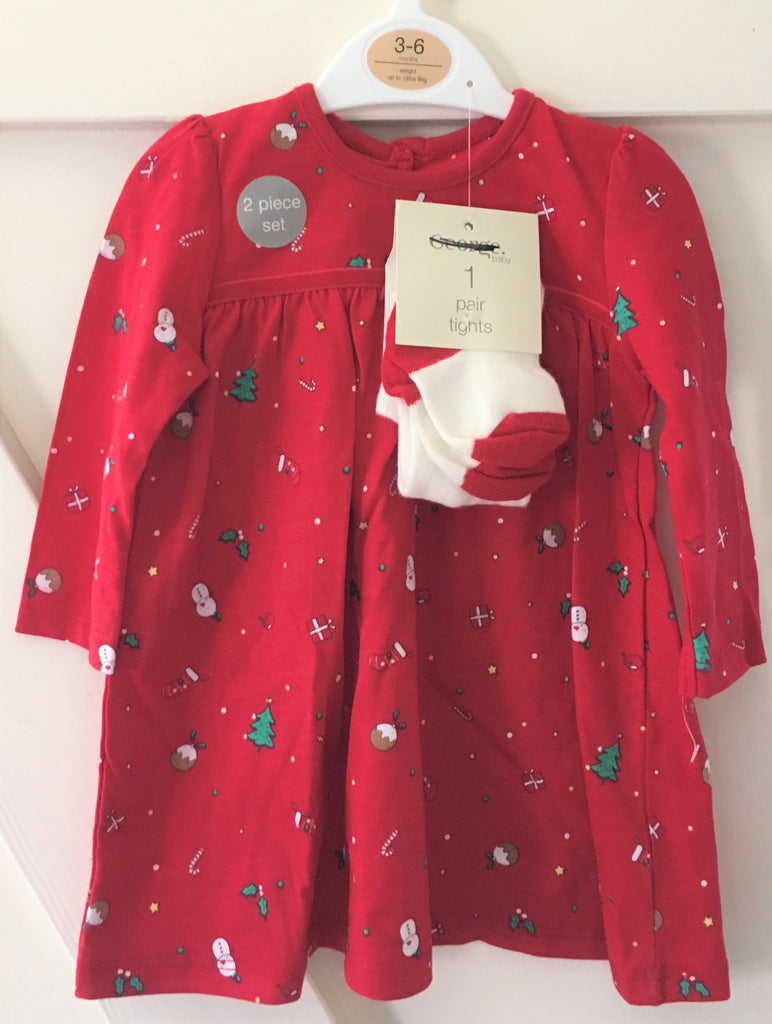 New Baby Girls Christmas Dress & Tights Set 2 Pc Red - Exstore George - Age 0-9 M