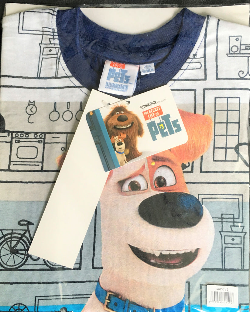 New Boys The Secret Life of Pets Navy Blue Tshirt - Exstore - 100% Cotton -2-3, 4-5, 7-8 Years