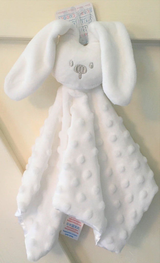 New Boys Girls Soft & Cuddly Touch Bunny Baby Comforter - Colours - Pink and White.