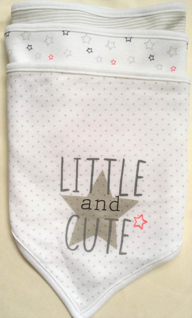 New Baby Neutral Set of 3 Bandana Bibs Little & Cute - Exstore Highstreet - 100% Cotton - One Size