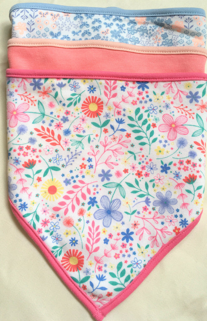 New Baby Girls Set of 3 Bandana Bibs Exstore Highstreet - 100% Cotton - One Size