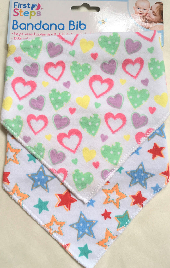 New Baby Girl Bandana Bib x 2 Set - Ideal For Teething Babies - Exstore First Steps One Size