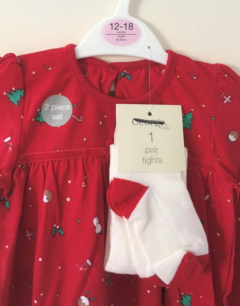 New Baby Girls Christmas Dress & Tights Set 2 Pc Red - Exstore George - Age 12-18 M
