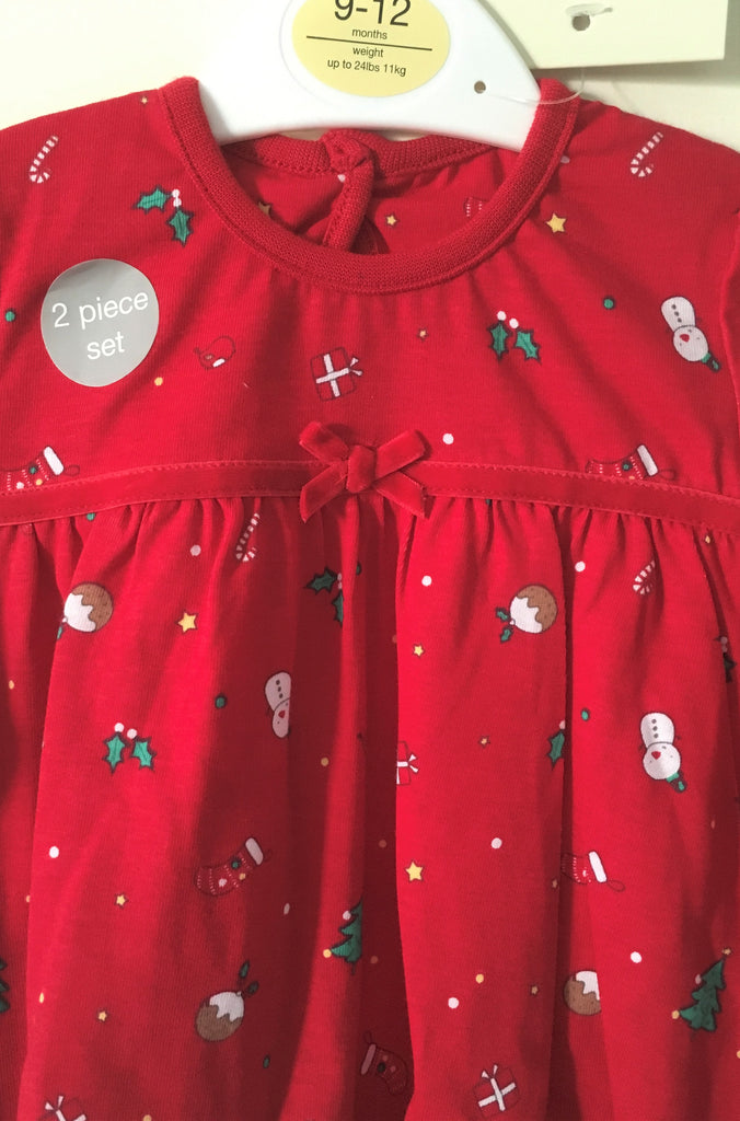 New Baby Girls Christmas Dress & Tights Set 2 Pc Red - Exstore George - Age 9-12 M