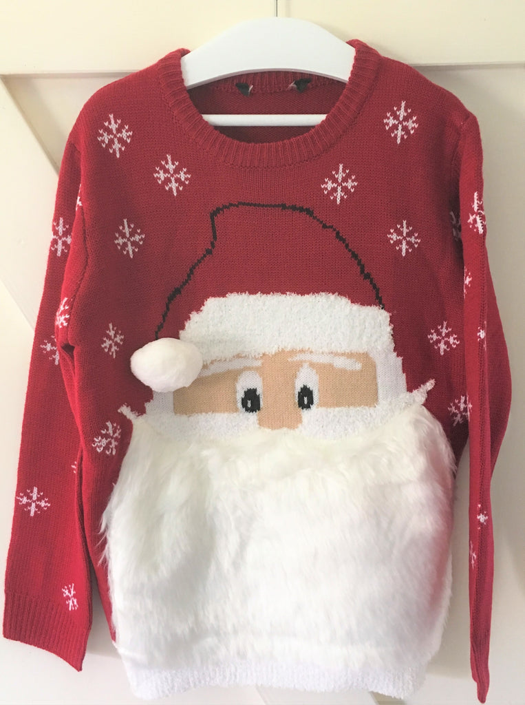 New Boys Girls Christmas Furry Santa Jumper Red - Exstore George - Size 9-10 Years