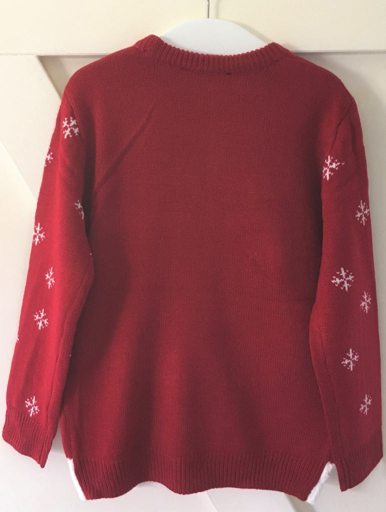 New Boys Girls Christmas Furry Santa Jumper Red - Exstore George - Sizes 5-14 Years