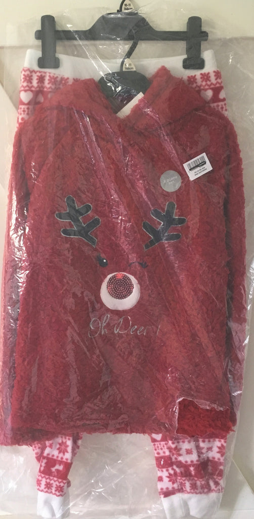 New Girls Boys Christmas Red Fleece Hooded Loungewear - Exstore F&F Age 5-13 Y