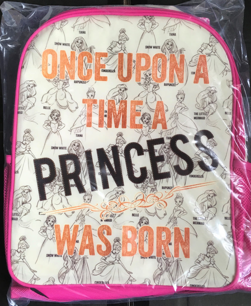 New Girls Disney Princess Reversible Glitter School Backpack LARGE - Official Exstore
