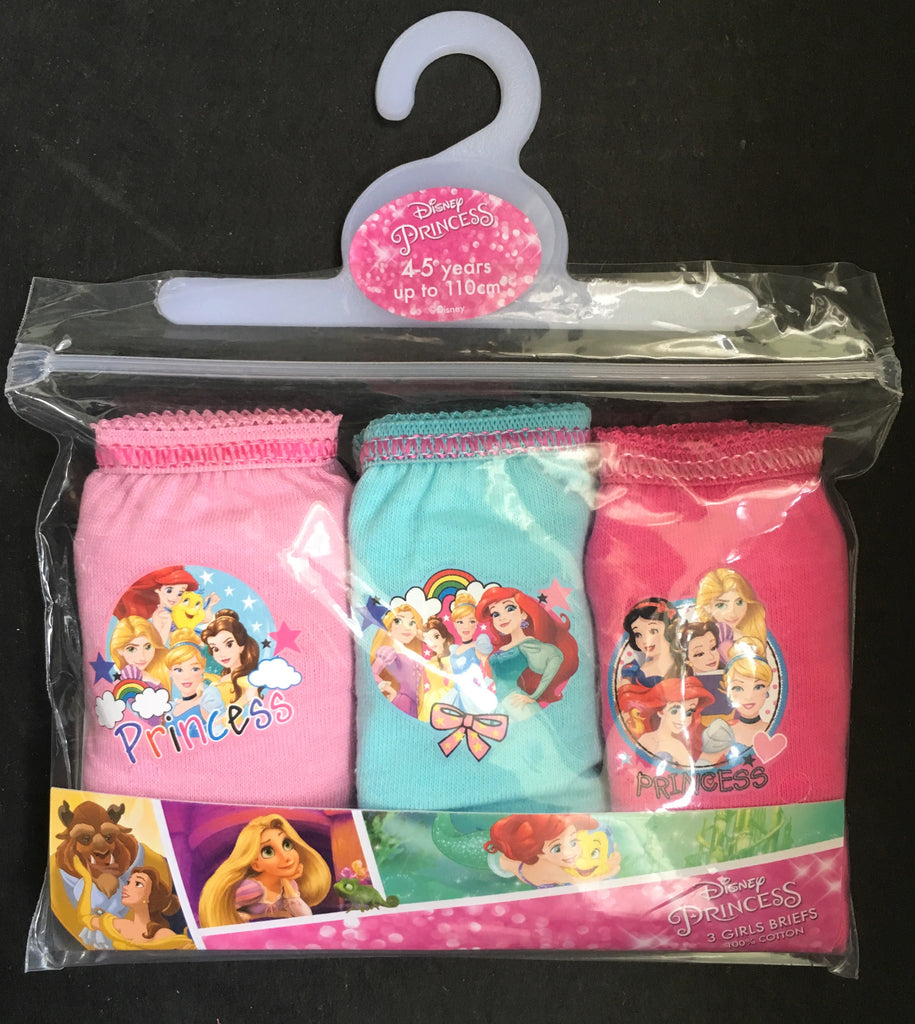 New Girls Disney Princess 3 Pc Briefs Set - Offical Exstore 100% Cotton- Ages 2-6 Yrs