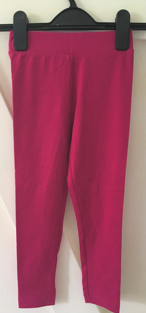New Girls Cerise Pink Leggings Elasticated Banded Waist - Exstore - Ages 2-6 Years
