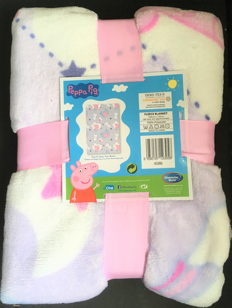 "New Girls Peppa Pig ""Sleepy"" Luxury Super Soft Fleece Blanket Throw - Official - Exstore - Pastel Pink Purple - Size 150 x 100 cm"