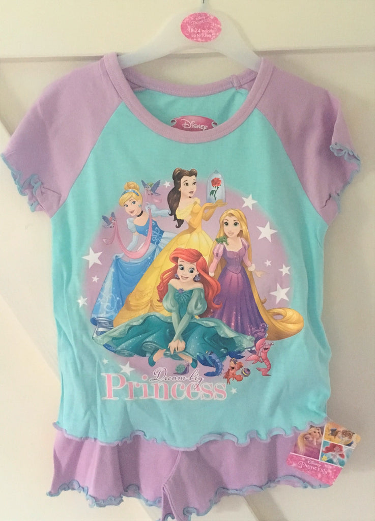 New Girls Disney Princess Shorts Pyjamas Set - Official Disney - Exstore - Ages 12-24 Months