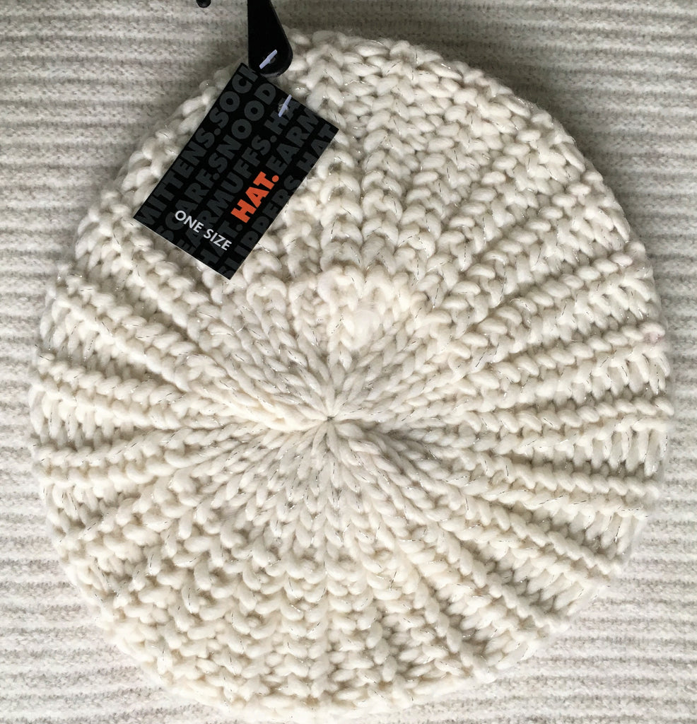 New Girls Chunky Knit Flat Beanie Hat 3 Colours Contains Lurex For The Sparkle! Age 5-11 Y