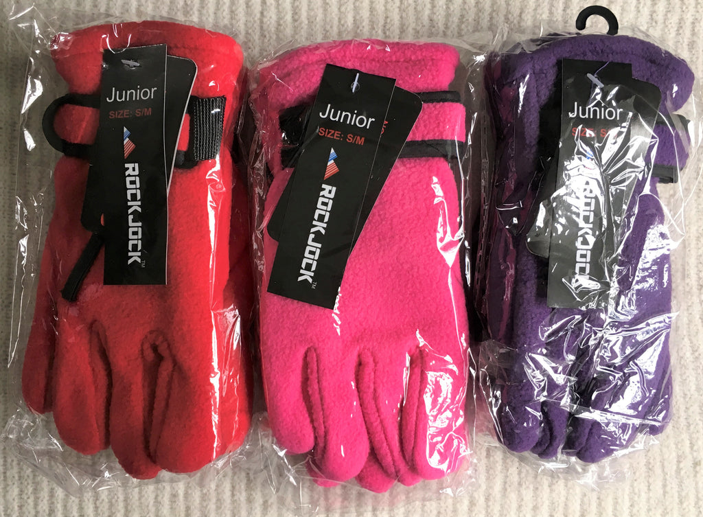 New Girls Rock-Jock Thermal Insulation Black Gloves 3 Colours - Fleece Lined - 5-10 Years
