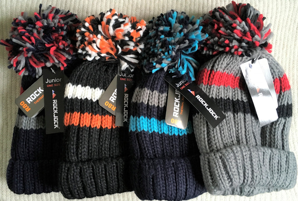 New Boys Rock Jock Thermal Chunky Knit Bobble Hat 4 Colours One Size Fits Age 5-10 Y