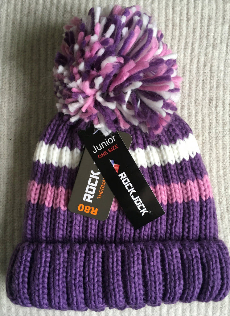 New Girls Rock Jock Thermal Chunky Knit Bobble Hat 3 Colours One Size Fits Ages 5-10 Yrs