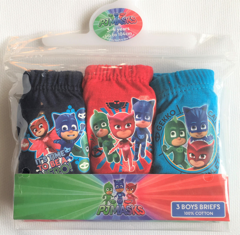 New Boys PJ Masks Set x 3 Briefs 100% Cotton - Official Exstore - 18/24M, 2-5 Years