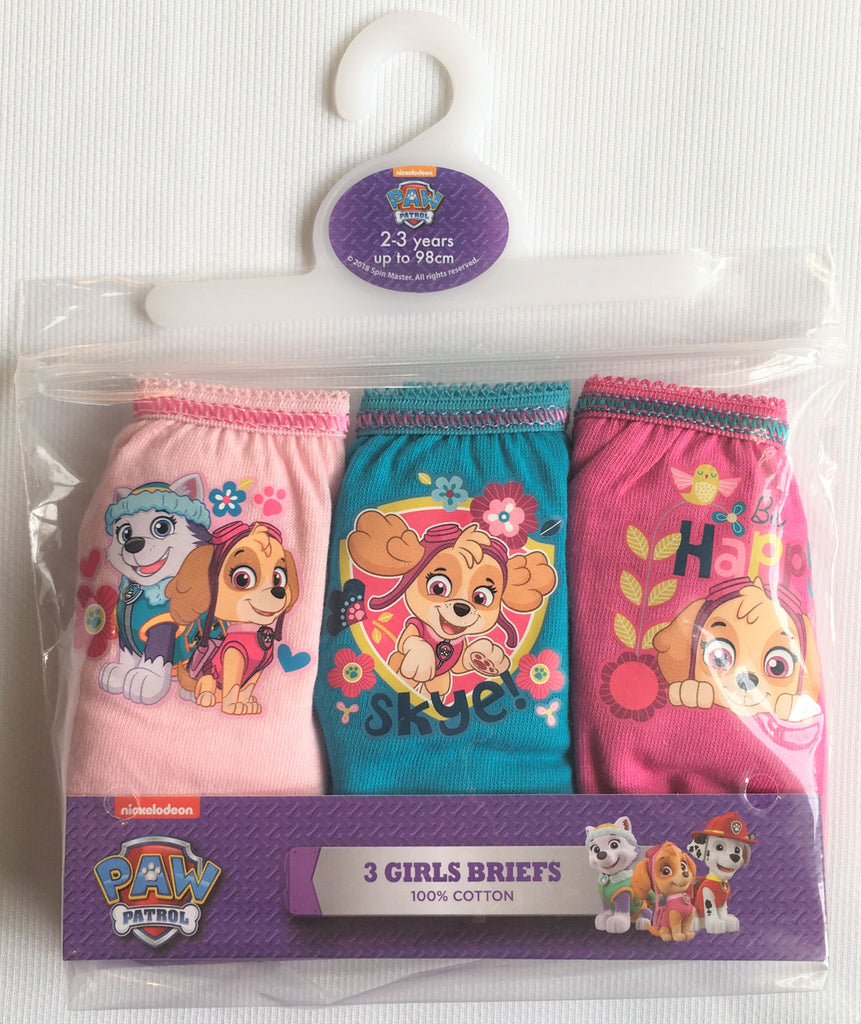 "New Girls Paw Patrol Girls 3 Pack Briefs - ""Be Happy"" - New Official - 100% Cotton 18-24M & 2-5 Yrs"