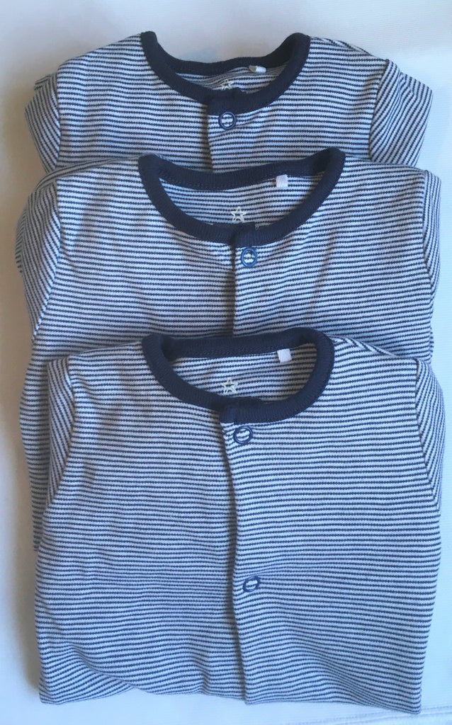 New Next Baby Boys 3 x Pack Sleepsuits - Long Sleeved Navy Blue Pinstripe - Size Up to 3 Months