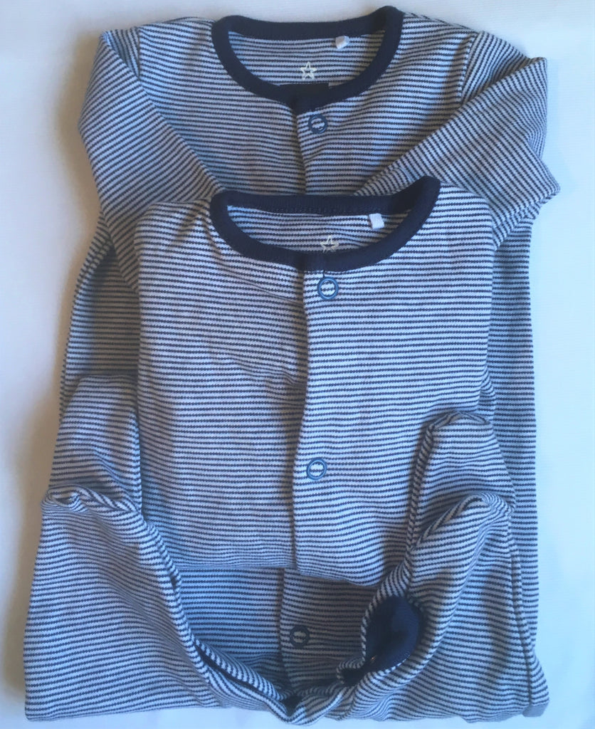 New Next Baby Boys 2 x Pack Sleepsuits - Long Sleeved Navy Blue Pinstripe - Size Up to 1 Month