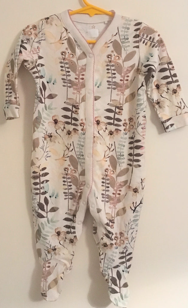New Next Baby Boys/Girls Neutral Sleepsuit - Long Sleeved Autumn Foliage - Size 6-9 Months