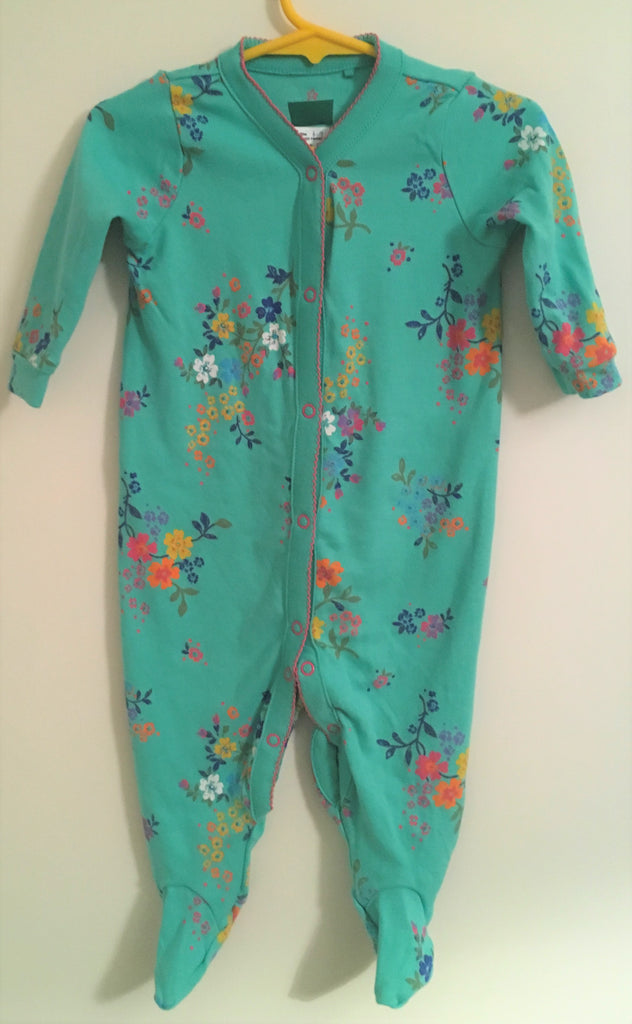 New Next Baby Girls Sleepsuit - Long Sleeved Jade Green Floral - Exstore Next - Size 6-9 Months