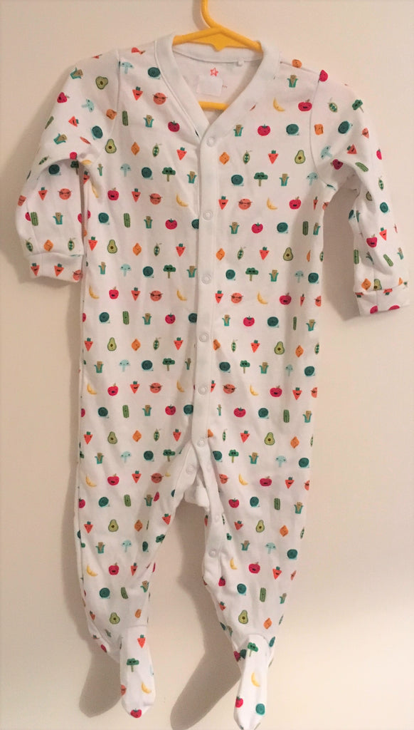 New Next Baby Boys/Girls Neutral Sleepsuit - Long Sleeved Fruit Funny Faces - Size 9-12 Months