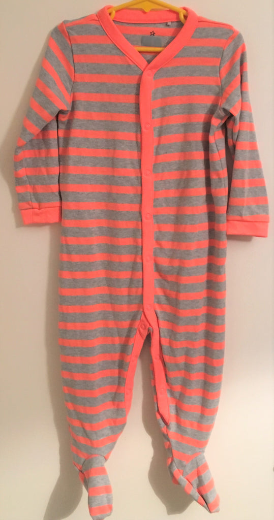 New Next Baby Boys/Girls Neutral Sleepsuit - Marl Grey & Neon Orange - Size 18/24M