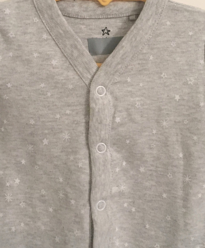 New Next Baby Boys/Girls Neutral Sleepsuit - Long Sleeved Marl Grey & Stars - Size Up to 1 Month