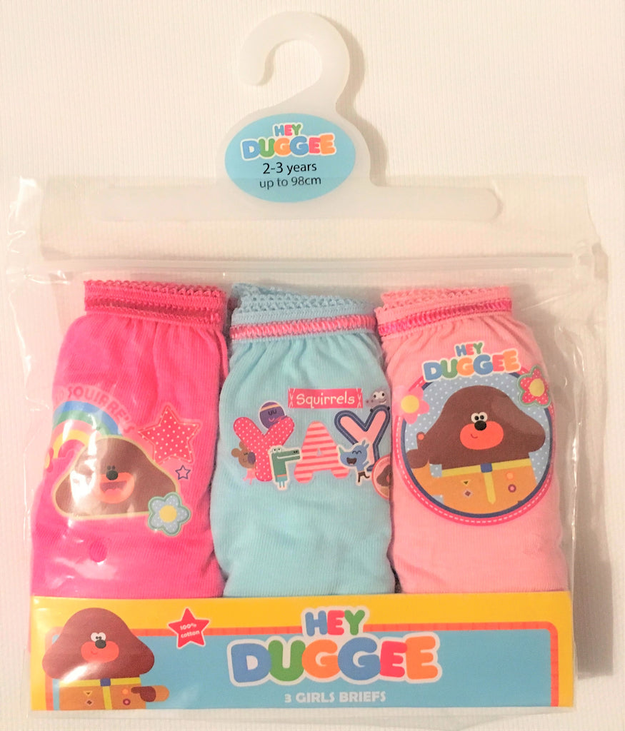 "New Girls Hey Duggee Briefs 3 Pack - ""Hello Squirrels!"" - 100% Cotton - 18/24M & 2-5 Years"