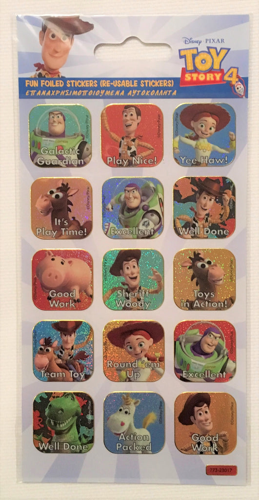 New Disney Toy Story Fun Foiled Stickers Pack 15Pcs - Re-Usable Exstore