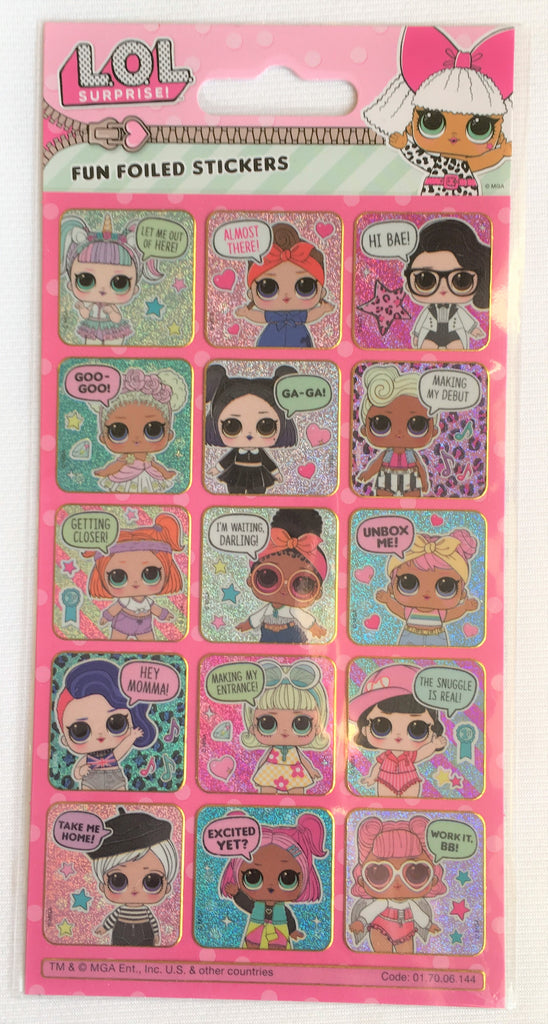 New Girls L.O.L Surprise Fun Foiled Stickers Pack 15Pcs Reusable - Exstore
