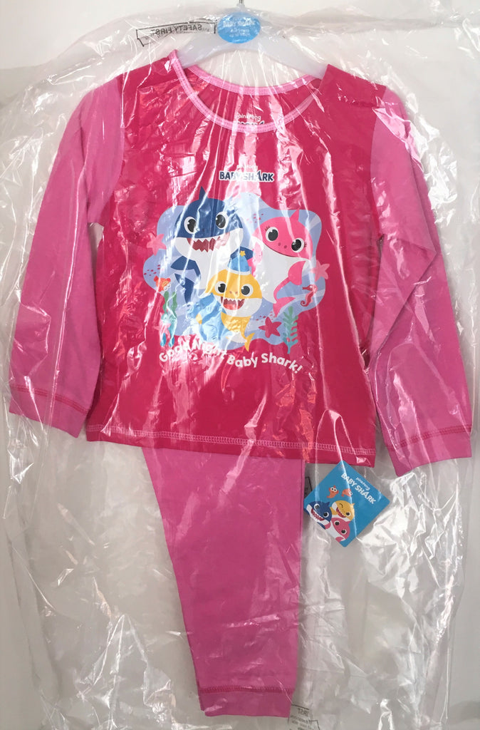 "New Official Pinkfong Baby Shark Girls Pyjama Set - ""Good Night Baby Shark"" 3-5 Y"