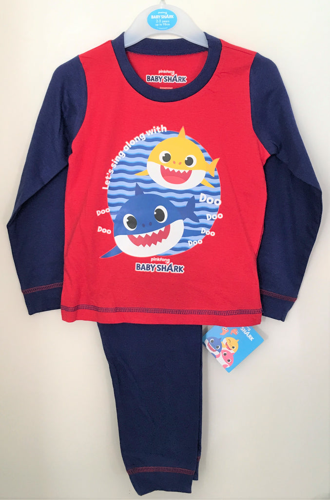 "New Official Pinkfong Baby Shark Boys Pyjama Set - ""Baby Shark"" - Exstore - Ages 18/24M, 2-5 Years"