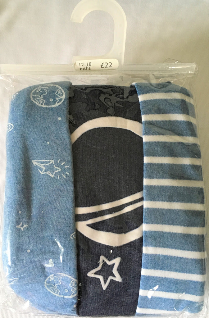 New Baby Boy 3 Pack L/Sleeved Pyjamas - Exstore -100% Cotton - 12-24M & 2-4Yrs
